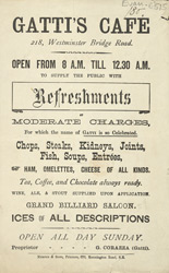 Advert For Gatti's Cafe